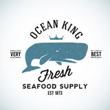 Ocean King Seafood Supplyer Vintage Vector Logo. Template with Shabby Texture. Good for Maritime Suppliers and Other Business vector illustration