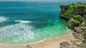 Ocean laguna beach with rock and sand. Ocean laguna secret beach with rock and sand stock video footage