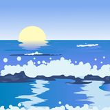 Ocean landscape. Illustration, clip art vector illustration