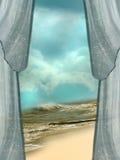 Ocean landscape. With fantasy window Royalty Free Stock Photos