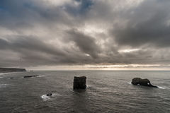 Ocean Landscape in Iceland with Rocks. Close to Black Sand Beach Royalty Free Stock Photos