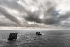 Ocean Landscape in Iceland with Rocks. Close to Black Sand Beach Royalty Free Stock Images
