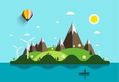 Ocean Landscape with Island. And Man on Boat. Vector Flat Design Natural Scene. Summer Holidays Destination with Windmills and Mountains vector illustration