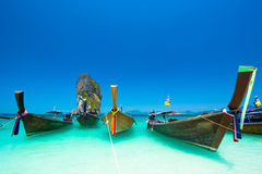 Ocean landscape in Krabi, thailand. Thailand ocean landscape with traditional boat Royalty Free Stock Photos