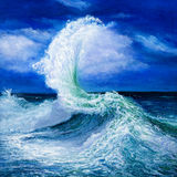 Ocean landscape. Original oil painting showing waves in  ocean or sea on canvas. Modern Impressionism, modernism,marinism Stock Image