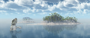 Ocean landscape with the prehistoric crocodile Dakosaurus Royalty Free Stock Photography