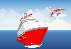 Ocean landscape,Red cruise liner, plane flying stock illustration