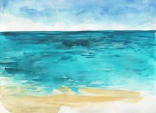 Ocean watercolor hand painting illustration. Stock Photos