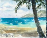 Ocean watercolor hand painting illustration. Royalty Free Stock Photo