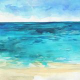 Ocean watercolor hand painting illustration. Royalty Free Stock Photography