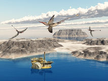 Ocean landscape with steamboat and the pterosaur Rhamphorhynchus Royalty Free Stock Images