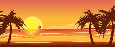 Ocean landscape. Sunset on the ocean beach. Vector illustration of ocean landscape. Sunset on the ocean beach stock illustration