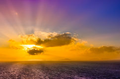 Ocean landscape sunset with clouds and colorful sky stock photos