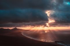 Ocean landscape & x28;sunset& x29;. Landscape of island and ocean & x28;Fuerteventura& x29; - sunset stock photo