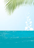 Ocean landscape vector. This image is a ocean vector illustration with palm leaf.Useful promote of your business Royalty Free Stock Image
