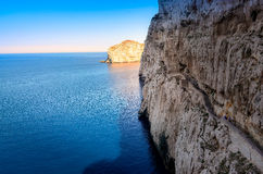 Ocean landscape view of cliffs near Neptune's cave, Sardinia Royalty Free Stock Image