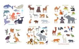 Ocean, las, azjata, australijczyk, afrykanin, zwierzęta ilustracja wektor