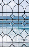 Ocean Through Lead Glass Window Royalty Free Stock Photography