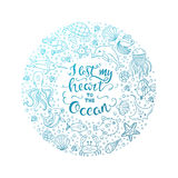 Ocean lettering illustration Stock Photos