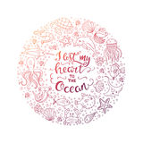 Ocean lettering illustration Royalty Free Stock Images