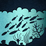 Ocean Life. Banner made of fancy paper stock illustration