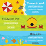 Ocean life banner horizontal set, flat style. Ocean life banner horizontal concept set. Flat illustration of 3 Ocean life vector banner horizontal concepts for Stock Photo