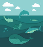 Ocean Life. Illustration of an Ocean Life Paper Cut Concept stock illustration