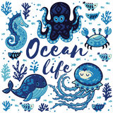 Ocean life. Lovely card with cute animals in nautical style Royalty Free Stock Photo