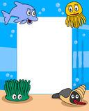 Ocean Life Photo Frame [1]. Photo frame, post card or page for your scrapbook. Subject: a funny underwater scene with four cartoon marine animals (a jellyfish, a Stock Image