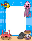 Ocean Life Photo Frame [3]. Photo frame, post card or page for your scrapbook. Subject: a funny underwater scene with four cartoon marine animals (a jellyfish, a Stock Photos