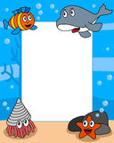 Ocean Life Photo Frame [4]. Photo frame, post card or page for your scrapbook. Subject: a funny underwater scene with four cartoon marine animals (an orca, a Royalty Free Stock Image