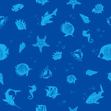 Ocean life seamles pattern Stock Photography