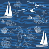Ocean life seamless pattern Stock Images