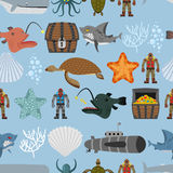 Ocean life seamless pattern. Shark and aquatic turtle, submarine Stock Photos