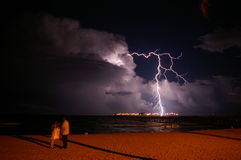 Ocean Lightning. Summer lightning over the ocean in Lauderdale By The Sea, Florida Royalty Free Stock Image