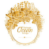 Ocean line art design. Vintage graphic card with ocean flora and fauna with circle frame.  Fish,  seaweed and corals drawn in line art style in golden colors Stock Image
