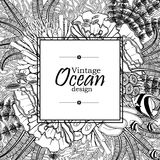 Ocean line art design. Vintage graphic card with ocean flora and fauna with square frame.  Fish, seashells, seaweed and corals drawn in line art style on white Stock Photo