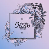 Ocean line art design. Vintage graphic card with ocean flora and fauna with square frame.  Fish, seashells, seaweed and corals drawn in line art style on quartz Royalty Free Stock Photos