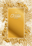 Ocean line art design. Vintage graphic card with ocean flora and fauna with square frame.  Fish, seashells, seaweed and corals drawn in line art style. Coloring Stock Photos
