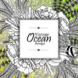 Ocean line art design. Vintage graphic card with ocean flora and fauna with square frame.  Fish, seashells, seaweed and corals drawn in line art style on yellow Stock Photos
