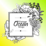 Ocean line art design. Vintage graphic card with ocean flora and fauna with square frame.  Fish, seashells, seaweed and corals drawn in line art style on yellow Stock Photo