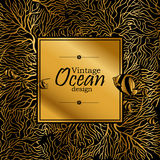 Ocean line art design. Vintage graphic card with ocean flora and fauna with square frame.  Fish, seashells, seaweed and corals drawn in line art style. Coloring Royalty Free Stock Photography
