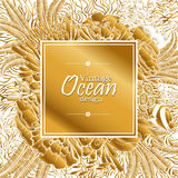Ocean line art design. Vintage graphic card with ocean flora and fauna with square frame.  Fish, seashells, seaweed and corals drawn in line art style. Coloring Stock Image