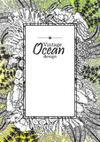Ocean line art design. Vintage graphic card with ocean flora and fauna with square frame.  Fish, seashells, seaweed and corals drawn in line art style on yellow Royalty Free Stock Photos