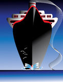 Ocean Liner. An ocean liner is featured in a vintage poster style vector illustration Royalty Free Stock Images