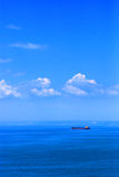 Ocean Liner. A lone ocean liner travels across a wide expanse of water on a nice clear day stock photos