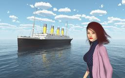Ocean liner and attractive woman with blowing hair Royalty Free Stock Photos