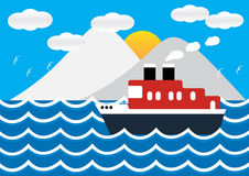 Ocean liner boat ship at sea view in sunset with iceberg. Ocean liner boat ship at sea view in sunset with iceberg and wave. flat design vector illustration Royalty Free Stock Photo