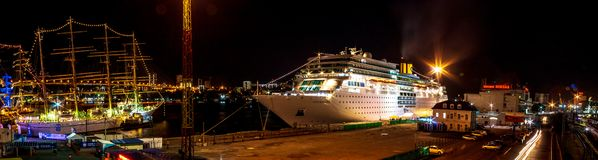 Free Ocean Liner Costa Romantica Moored At Night On The Pier In The Downtown Of The Far Eastern City Of Vladivostok Royalty Free Stock Photos - 132814118