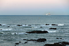 Ocean liner at dawn Stock Image
